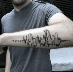 30 Seattle Skyline Tattoo Designs For Men