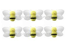 Mini Bees Bumblebees 6pc Set Small Yellow Petite Honey Bumble Bee Decorations Birthday Party Girls Room Nursery Baby Shower Decor Smiling