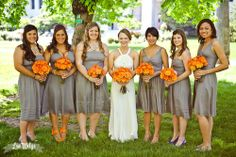 Pretty sure that these dresses are jcrew graphite... they look good with the orange!