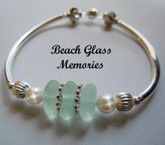 Sea Glass Bracelet Aqua Beach Glass Jewelry by BeachGlassMemories