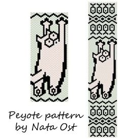 Beading Peyote Pattern Stitch Bracelet Cat Seed Bead by NataOst