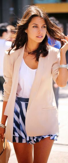 Blush Blazer & Navy/White Shorts
