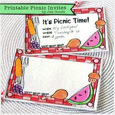 Printable Picnic Invitations by Jen Goode