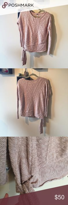 {Free People} Sweater Beautiful, comfy, oatmeal-colored sweater. Ties at the side. Reposhing- I am too pale for the color  unfortunately...EUC. Free People Sweaters Crew & Scoop Necks