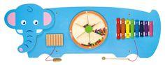 Wandspeelbord Olifant Dit speelelement biedt verschillende speelmogelijkheden voor kinderen. Het element is groot genoeg om meerdere kinderen tegelijkertijd er mee te laten spelen maar doordat het bord aan de muur bevestigd wordt neemt het slechts een beperkte ruimte in. Ideaal voor de wachtkamer, behandelruimtes of gewoon als muurdecoratie op de kinderkamer. Afmetingen: 91 (L) x 32 (H) x 4,5 (D) cm