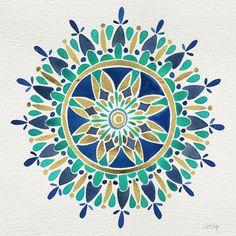 Mandala – Gold & Turquoise Art Print