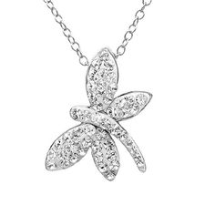 Amanda Rose Collection Sterling Silver Dragonfly Pendant-Necklace Made... ($41) ❤ liked on Polyvore featuring jewelry, necklaces, nocolor, sterling silver necklace pendant, chain necklaces, pendant necklace, swarovski crystal pendant necklace and sterling silver necklace