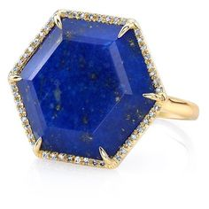Anne Sisteron  14KT Yellow Gold Lapis Hexagon Diamond Cocktail Ring ($1,650) ❤ liked on Polyvore featuring jewelry, rings, yellow gold diamond rings, hexagon diamond ring, yellow gold rings, gold diamond jewelry and hexagon ring