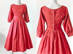 SALE Laura Ashley Vintage Red Ballgown Dress 50s Style
