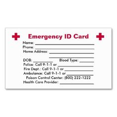 medical alert card template - personalised medical information cards kid medical