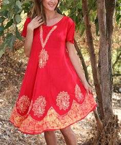 Red & Gold Paisley Scoop Neck Dress