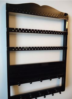 Jewelry Holder, Ring Holder, Boutique Quality & Design, Maple, Black Cabinet Grade Paint, 54-108 Pairs, 16 Pegs, 20 Rings. $64.95, via Etsy. doesn't have to be this exact one, but I like this concept of organization and display. must be black though - cr