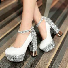 [Details about Fashion Women's Ankle Strap Platform Block High Heels Pumps Wedding Party Shoes - รองเท้า - Zapatos Ideas Platform High Heels, High Heel Pumps, Pumps Heels, Stiletto Heels, Platform Wedding Shoes, Ankle Heels, Sandals Platform, Bling Shoes, Prom Shoes