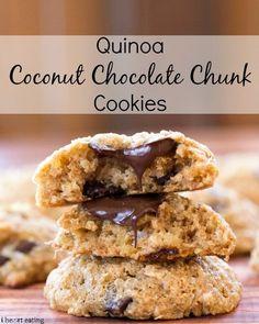 Quinoa Coconut Chocolate Chunk Cookie Recipe   http://www.ihearteating.com  