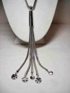 Chico's Chain Necklace Silver Tone Tassel Double Chain #Chicos #Chain