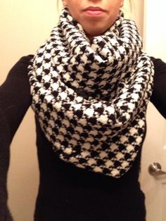 Oversized Houndstooth Infinity Scarf