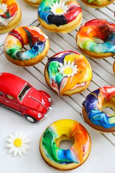Lemon Tie Dye Doughnuts | Sprinkle Bakes