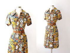 vintage novelty print dress / foreign currency by thegreedyseagull