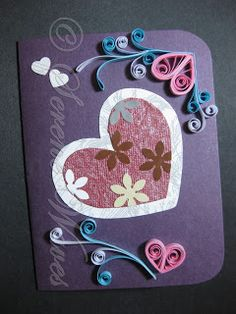 Heart with punched flowers - a different Valentine Card