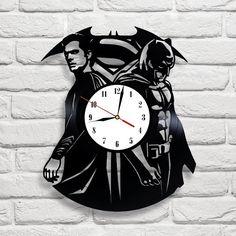 Batman vs Superman Vinyl Record Wall Clock. Black Room Decor. Wall Home Decor. by vinylevolution, $45.00 USD