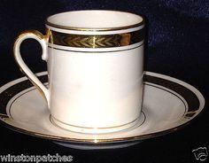 Porcelaine Larcheveque Uml Limoges France Demitasse Cup & Saucer Gold Laurel