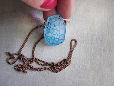 Aqua blue agate pendant. Sliced agate stone by MADAMBLUEONE, $13.00