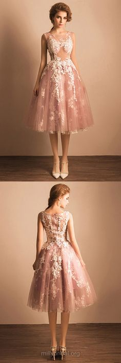 Girls Cocktail Party Dresses,Ball Gown Scoop Neck Homecoming Dresses,Tulle Tea-length Appliques Lace Prom Dresses