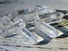 3 Points Rock Quartz Crystal Point Beads Polished Top by Aerieanna