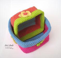 Crochet Square Baskets Crochet Pattern