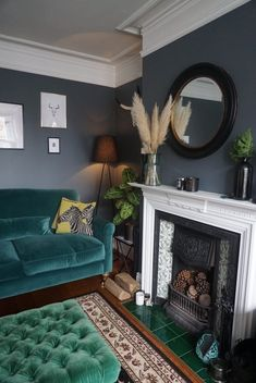 The child friendly sofa - End of the Row Dark Green Living Room, Dark Walls Living Room, Teal Living Rooms, Living Room Color Schemes, New Living Room, Living Room Sofa, Living Room Designs, Living Room Decor, Dark Grey Rooms