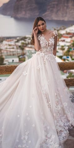 lace ball gown wedding dresses with cap sleeves floral appliques oksana mukha
