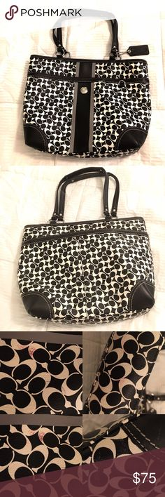 "Coach Chelsea Heritage Tote Gently used Coach Chelsea Heritage Stripe Tote. 100% authentic. Has minor stains on front and underside of purse as pictured. Inside of purse has some pen marks as pictured. Besides that great condition! Price already reflects wear. Purse is sold AS-IS. Measures: 13""L x 11""H x 3""W Coach Bags Totes"