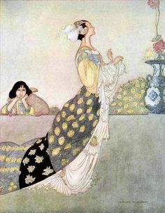 Charles Robinson, Illustration for Fairy Tales by Oscar Wilde, The nightingale and the rose, 1913.