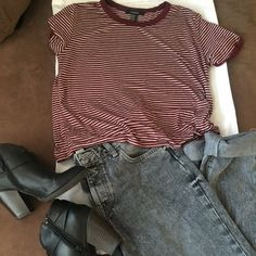 FOREVER 21 striped shirt Forever21 striped burgundy and white ringer tee. Short sleeves and a round neckline. Never worn.(no tags sorry) super cute with some gray distressed boyfriend jeans and booties or cute distressed shorts. Forever 21 Tops Tees - Short Sleeve