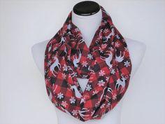 Christmas scarf Nordic Scandinavian infinity scarf red gray