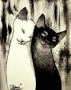 CATS-TAKE-CARE-Raphael-VAVASSEUR-Peinture-Originale-Original-Painting
