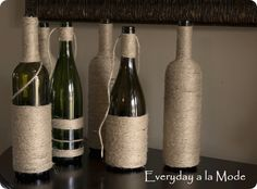 jute wrapped bottles and other ideas. Knockoffdecor.com