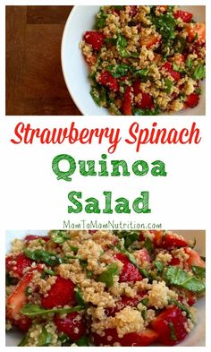 Strawberry spinach quinoa salad screams summer with the fresh strawberries and simple balsamic dressing. Topped with grilled chicken and you have a meal! Healthy Summer Recipes, Summer Salad Recipes, Healthy Salads, Healthy Eating, Healthy Lunches, Delicious Recipes, Healthy Food, Vegan Recipes, Clean Eating