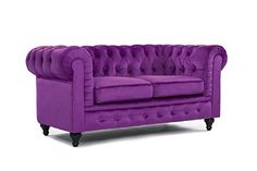 Amazon.com: Classic Scroll Arm Chesterfield Style Loveseat with Tufted (Purple): Kitchen & Dining