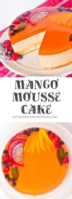 A fruity mousse cake made with fresh mangoes, an airy sponge cake and a peach jello layer to top it all off! View Recipe Link