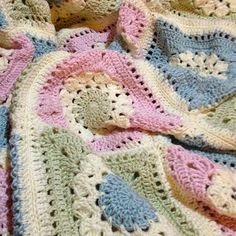Very special blanket to go on my daughters bed when she moves out of the cot. Aiming for 24 squares ( love that they are big squares)….. 6 down!  7/6/12 ~ decided to make it a bit bigger to f...