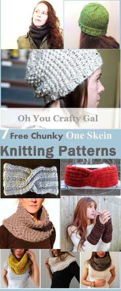 Oh You Crafty Gal: 7 Free One Skein Chunky Knitting Patterns That Kni...