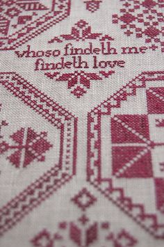 Whoso Findeth Me - A Quaker Cross Stitch Embroidery Sampler, by Modern Folk Embroidery