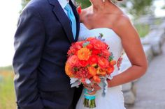 Aqua And coral Wedding | tie the not / turquoise and coral wedding LOVEEEE