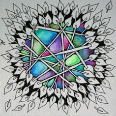 Zentangle... Gelly roll colorblending with waterbrush tutorial!