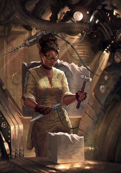 Commission done for 's Brass & Steam tarot deck. Princess of Pentacles Character Creation, Character Concept, Character Art, Concept Art, Black Characters, Sci Fi Characters, Black Girl Art, Black Women Art, Black Art