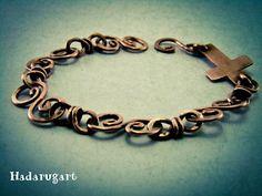 Bratara din cupru: Bratara de cupru cu cruce Copper Bracelet, Romania, Bracelets, Silver, Jewelry, Artist, Jewlery, Money, Bijoux