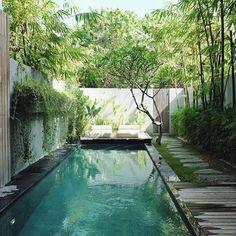 Last day in paradise - Lizzy MR - Backyard Pool Designs, Small Backyard Pools, Small Pools, Swimming Pools Backyard, Swimming Pool Designs, Pool Landscaping, Piscina Interior, Pool Landscape Design, Modern Pools
