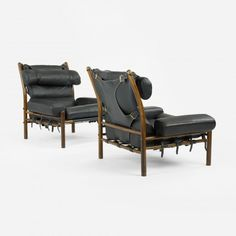 ARNE NORELL    Inca chairs, pair    Sweden, c. 1965  leather, rosewood, brass  36 w x 36 d x 35 h inches