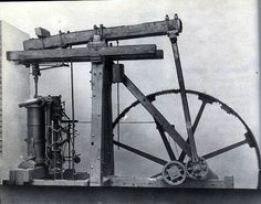 James Watt's steam engine, 1765. The innovation of a separate condensing chamber and rotary motion in place of the see-sawing beam of Newcomen's engine greatly improved the efficiency of steam power.